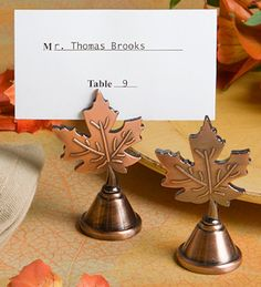 Autumn Leaf Design Copper Place Card Holders from Wedding Favors Unlimited #FavorsUnlimitedFallinLove