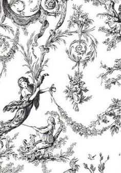 French Country Black Toile Fabric