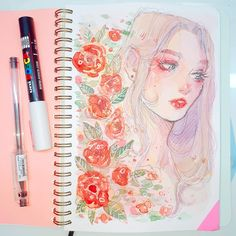first time using my @mosseryco sketchbook!! the paper is weaker than i expected (i cant rub one area too much otherwise it will start to tear apart) but its pretty good!! i did get mix media paper instead of watercolor, so that's one thing to have in mind ;) BUT AA im so happie.. my go to when painting is girls with flowers, can you tell? :,)