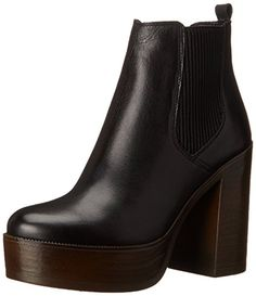 Steve Madden Women's Geanna Boot, Black Leather,