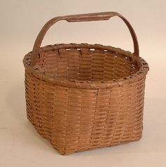 antique baskets | Antique Connecticut hickory handle splint gathering basket c1830