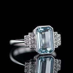 Aquamarine Decó Ring