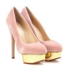Charlotte Olympia - Dolly velvet pumps - Charlotte Olympia's signature 'Dolly' pumps get a new-season update in a blush tone. Crafted from plush velvet, this pair features a platform front - coloured in gold-tone metallic - and pin-thin heels. Against an all-black palette, it will make a head-turning statement. seen @ www.mytheresa.com