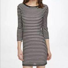 Express Striped Sweater Sequin Dress