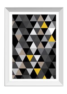 Geometric print yellow black white grey by designerhoney on Etsy, $14.00