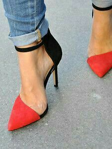 color block heels.