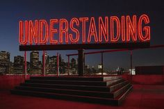 British artist Martin Creed's tall, rotating neon-red sculpture proclaims a not-so-subtle message visible from Brooklyn, Manhattan, and the Brooklyn Bridge: Understanding. Work No. UNDERSTANDING is Creed's largest public sculpture to date. Crafts To Do When Your Bored, Marian Goodman, Craft Cabinet, Art Fund, Brooklyn Bridge Park, Sand Crafts, Light Installation, Art Installations, Environmental Art