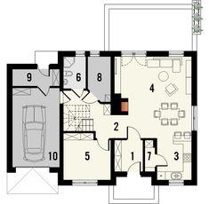 KOLIA - projekt domu z otwartą kuchnią i garażem z jednospadowym dachem. Studio Krajobrazy. Case, Floor Plans, Ideas, Nice Houses, Floor Plan Drawing, House Floor Plans