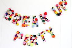 BREAK UP PARTY, party banner with pom-poms. i love this shop - it's like living in tumblr.