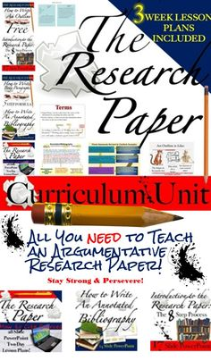 Research Paper: Curriculum Unit Research Writing, Research Paper, Teaching Resources, Student Teaching, Secondary Teacher, How To Get Followers, Thesis Statement, Teacher Appreciation, Classroom Activities
