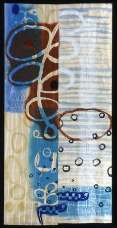 """Water Weed"" by Karen Kunc mono print and mixed media"