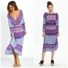 Free People Midi Dress Shown in the first picture this dress can be worn either way. Which is super cool! The design and colors are so pretty. Feel free to submit an offer. Free People Dresses Midi