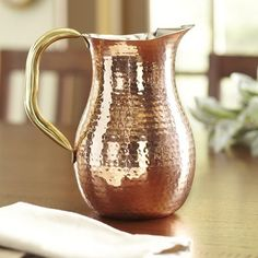 Found it at Birch Lane - Copper Serving Hammered Pitcher Punch Bowl Set, Drink Dispenser, Ceramic Pitcher, Traditional Furniture, Hammered Copper, Copper Penny, Birch Lane, Brass Handles, Serveware