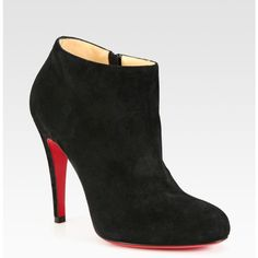 Christian Louboutin Belle Suede Ankle Boots ($995) ❤ liked on Polyvore featuring shoes, boots, ankle booties, christian louboutin boots, ankle boots, suede ankle boots, suede ankle booties and side zip boots