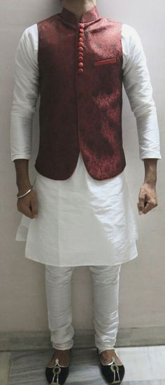 Kurta Pyjama Set with Nehru Collar Waist Coat for Men Whatsapp : Mens Indian Wear, Mens Ethnic Wear, Indian Groom Wear, Wedding Dress Men, Wedding Suits, Wedding Men, Nehru Jacket For Men, Nehru Jackets, Pakistani Outfits
