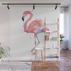 Buy flamingo watercolor wall mural by olechka worldwide shipping available at com just one of millions of high quality products available Room Wall Painting, Mural Wall Art, Diy Wall Art, Wall Decor, Room Decor, British Colonial Decor, Art Mur, Bedroom Murals, Watercolor Walls