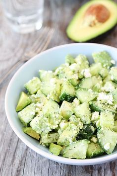 Cucumber, Avocado, and Feta Salad Recipe on twopeasandtheirpod.com SO simple and SO good!