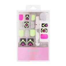 Glow-in-the-Dark Neon Green and Pink Aztec Print False Nails