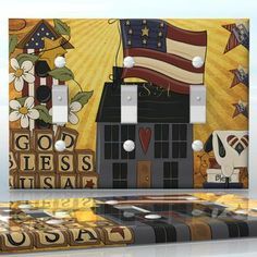 DIY Do It Yourself Home Decor - Easy to apply wall plate wraps | Being Patriotic #3    Country style USA pattern  wallplate skin sticker for 3 Gang Toggle LightSwitch | On SALE now only $5.95