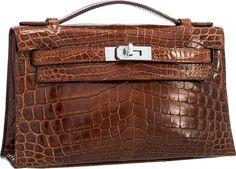 Hermes Shiny Miel Porosus Crocodile Piano Elan Bag - online sale