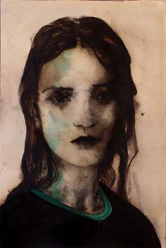 domenico grenci | lucy, 2014, bitume, olio e carboncino su tela, cm 150 x 100