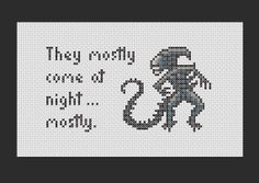 Aliens Quote PDF Cross Stitch Pattern by Richearts on Etsy, $4.00