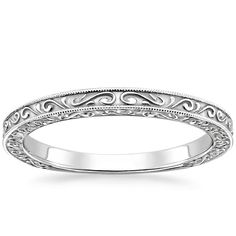 Love this style for a work ring. This romantic antique style band is adorned with light-catching milgrain and an engraved scroll pattern on the top and sides of the band. The perfect match to the True Heart Engagement Ring. Heart Engagement Rings, Vintage Engagement Rings, Vintage Rings, Platinum Wedding Rings, Wedding Rings For Women, Wedding Bands, Wedding 2017, Bling Bling, White Gold Rings