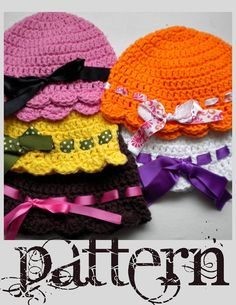 FREE Crochet Pattern Flapper-Girl Baby Hat.  She asks that you NOT sell anything made from this pattern.  Respect the designer's copyright!