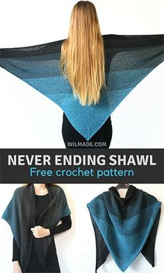 SHAWLS & COWLS: Never-ending Shawl - free crochet shawl pattern; Here you can find my free crochet shawl pattern to make the Never ending Shawl. It's a very easy pattern and great project for beginners. Video is included! Crochet Prayer Shawls, Crochet Shawl Free, Bag Crochet, Crochet Gratis, Crochet Shawls And Wraps, Crochet Scarves, Crochet Clothes, Crochet Cape, Crochet Edgings