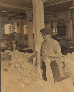 Close up of stocking turning operation, Berkshire Knitting Mills. Hagley Digital Archives.