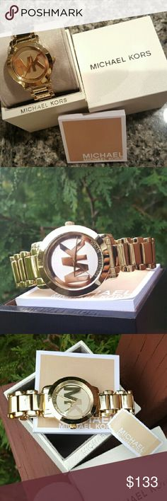 Michael Kors Parker MK bracelet gold watch MK3206 SELLING OUT FAST! Guaranteed Authentic MK3206  * Model: Parker * Gold stainless steel band. Easy adjust links for custom fit.  * Gold MK engraved dial  * New with Michael Kors watch case and owners booklet included  * 38mm  * 5 ATM  * UPC: 796483000155 * WHAT A BEAUTY!  * No trades, buy now or offer only. Shipped same business day. Michael Kors Accessories Watches