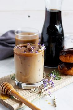 Honey Lavender Cold Brew Latte - The Wooden Skillet Coffee Recipes Honey Lavender Cold Brew Latte - Tea Recipes, Coffee Recipes, Fruit Recipes, Recipies, Cold Brew Coffee Recipe, Honey Drink, Latte Recipe, Coffee Drinks, Lavender