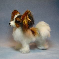 papillon dog stuffed toy | One of my soft sculpture Papillon dogs created with needle felting ...