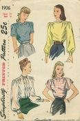 An original ca. 1946 Simplicity Pattern 1906.  Misses' and Women's Blouse: The back-buttoning blouse is fitted with tucks and dart tucks at the front and back lower edges. A forward shoulder seam releases soft fullness in the blouse front. Styles I and IV have a Peter Pan collar and the sleeve may be short or capped. Lace edging is optional. Styles II and III have bishop sleeves that are gathered at the upper edge and in Style II, a high round neckline is featured.