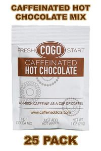 COGO Caffeinated Hot Cocoa Mix -HOT CHOCOLATE WITH AS MUCH CAFFEINE AS A CUP OF COFFEE!  COGO caffeinated hot cocoa mix provides the boost you need first thing in the morning or whenever you need a pick-me-up! The delicious way to indulge your chocolate craving while getting a boost! A delicious alternative to coffee!