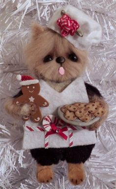OOAK Yorkie Dog Christmas Baker Hanging ornament *CTD*