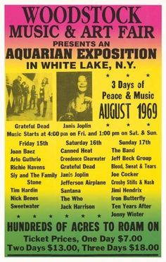 Woodstock - Grateful Dead, Janis Joplin, Jimi Hendrix, The Who, Jefferson Airplane, Santana, Creedence Clearwater Concert Poster (1969) White Lake, NY (14 x 22 Inches - 36cm x 56cm) by Concert Posters