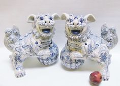 Pair of Large Vintage Blue And W hite Porcelain Foo by Revives, $160.00