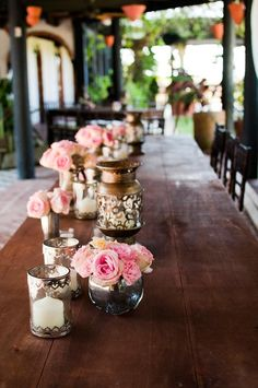 Vintage centerpieces with pink roses