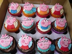 These are my first ever batch of Peppa Pig cupcakes, the birthday girl's favourite pig was Daddy Pig. Peppa Pig Birthday Cake, Cookie Cake Birthday, Pig Cupcakes, Cupcake Cakes, Peppa Pig Party Supplies, Cupcake Cake Designs, Peppa Pig Family, My Little Pony Cake, Themed Cakes