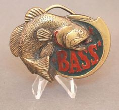 Vintage Bass Fishing Belt Buckle By The Great American Buckle Co Vintage Bass, Vintage Belt Buckles, Bass Fishing, Cuff Bracelets, American, Store, Ebay, Larger, Fishing