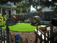 This in home daycare in Oregon has the most fantastic outdoor play area. Neat ideas for our backyard! So many cool ideas for crafts and set up - check out her photos page