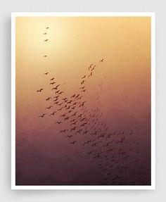 Awakening - Art illustration Mixed media illustration Love Morning Sun Freedom Orange Brown Mountains Birds Art Prints Posters Home decor