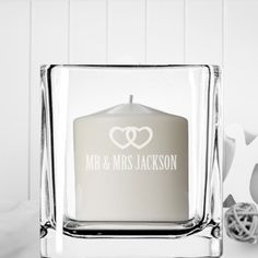 Engraved Square Candle Holder - Hearts is available to buy now. Engraved Wedding Gifts, Wedding Gifts For Bride And Groom, Personalized Wedding Gifts, Bride Gifts, Square Candles, Romantic Anniversary, Christmas Candle Holders, Groom Looks, Personalized Candles