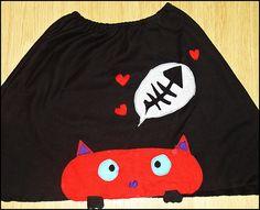 χειροποίητη φούστα 'γάτα-ψαροκόκκαλο'
