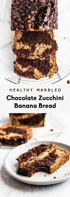 Healthy marbled chocolate zucchini banana bread naturally sweetened with bananas, pure maple syrup, and chocolate chips. The perfect snack! Frozen Chocolate, Chocolate Banana Bread, Chocolate Chips, Healthy Baking, Healthy Desserts, Healthy Breads, Healthy Foods, Healthy Recipes, Banana Zucchini Bread Healthy