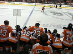Flyers bench during the shootout vs the Sens on March 31 2012