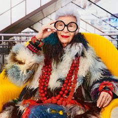 "Iris Apfel did Paris! Le Bon Marché Rive Gauche Department Store featured an ""Iris in Paris"" fashion exhibit and shop in honor of the icons style"