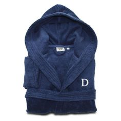 Linum Home Textiles Personalized Kids Turkish Cotton Hooded Terry Bathrobe Midnight Blue / White, Size: Small - LKDS50-S-B-00-W