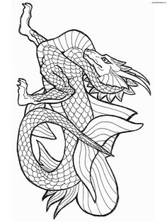 Realistic Dragon Coloring Pages For Adults   Free Printable ...